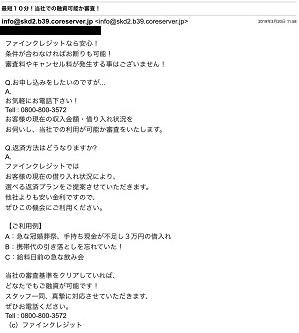 ファインクレジットからのメール画像