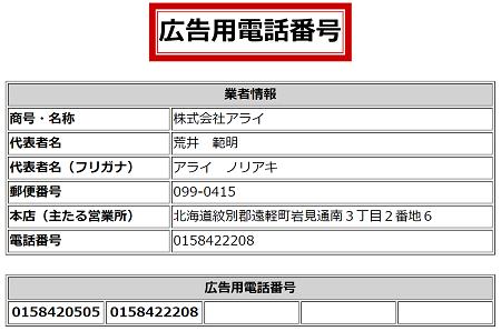 株式会社アライの広告用電話番号