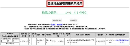 株式会社アライの貸金業登録情報
