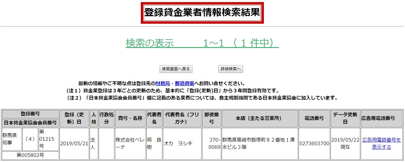 株式会社ベレーナの貸金業登録情報