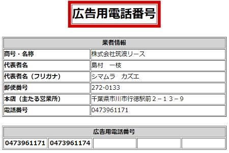 株式会社筑波リースの広告用電話番号一覧