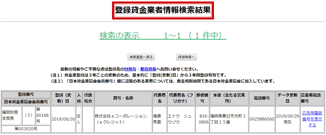 株式会社eコーポレーションの貸金業登録情報