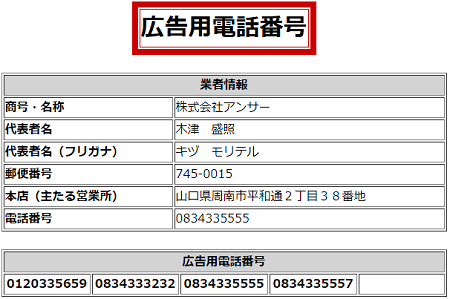 株式会社アンサーの広告用電話番号一覧