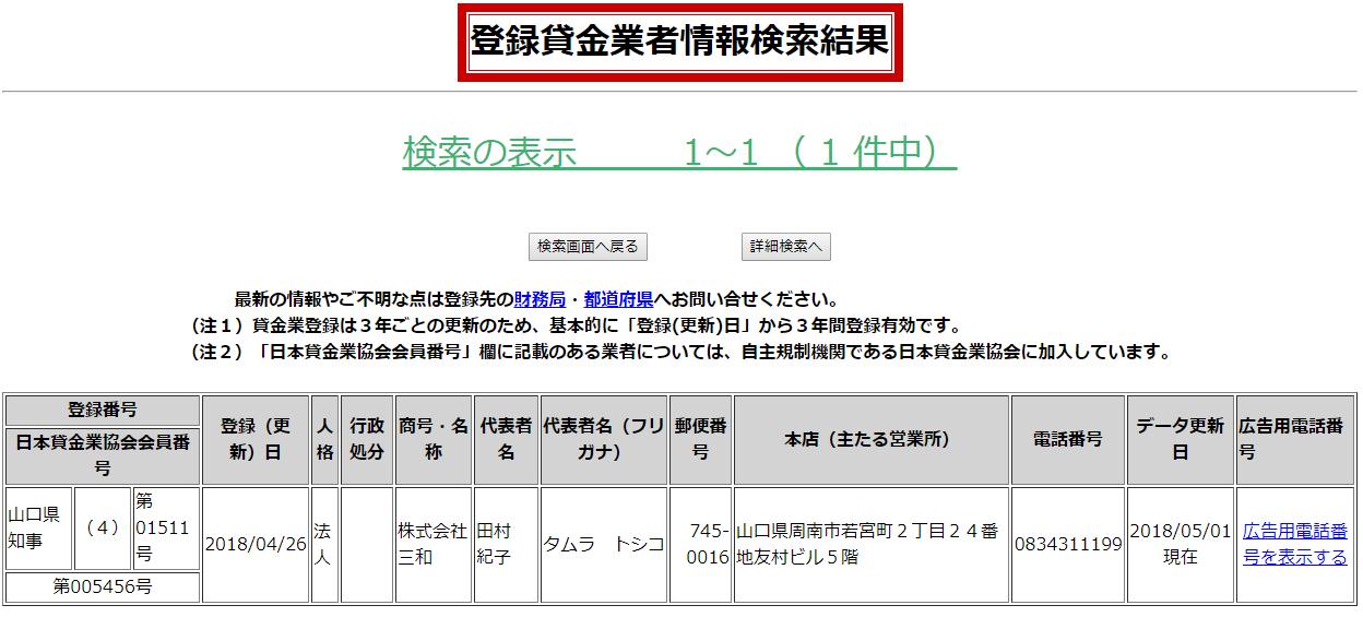 株式会社三和の貸金業登録情報