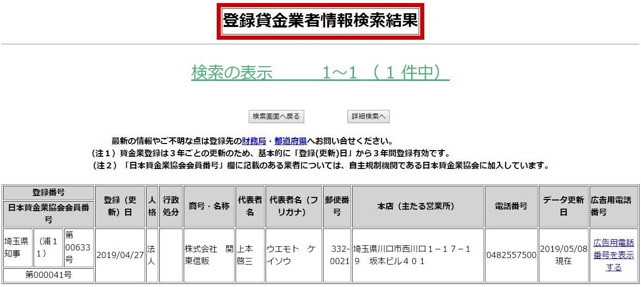 株式会社関東信販の貸金業登録情報