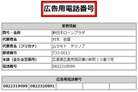 新日本ローンプラザの広告用電話番号一覧