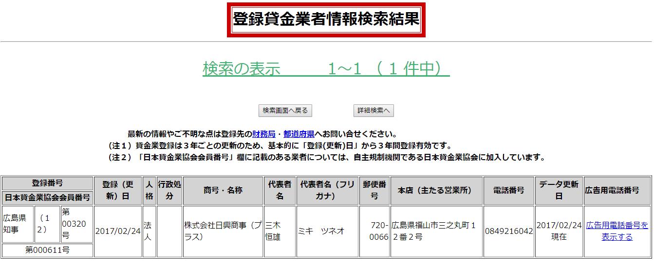 日興商事の貸金業登録情報