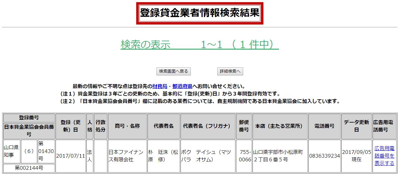 日本ファイナンスの貸金業登録情報