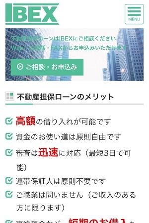 アイベックスのホームページ画像