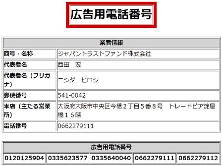 ジャパントラストファンドの広告用電話番号一覧