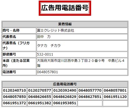 富士クレジットの広告用電話番号一覧