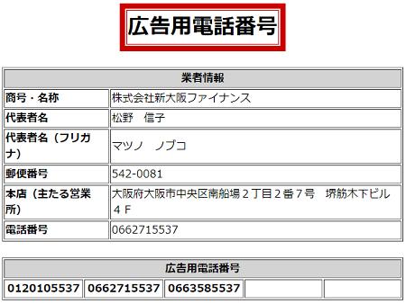 新大阪ファイナンスの広告用電話番号一覧