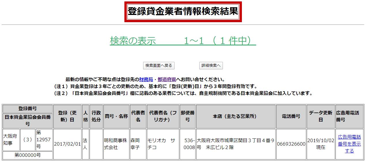 明和商事の貸金業登録情報