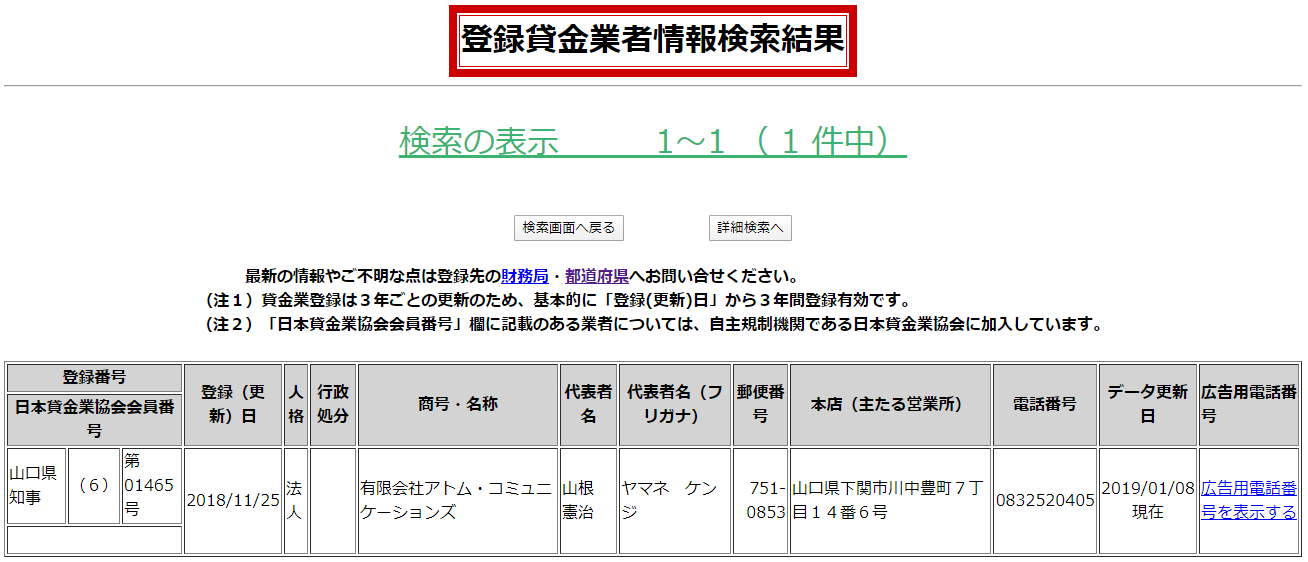 有限会社アトム・コミュニケーションズの貸金業登録情報
