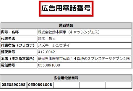 鈴木商事の広告用電話番号一覧