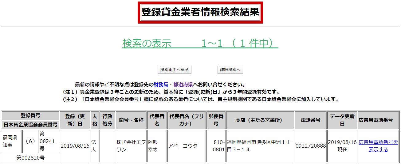株式会社エフワンの貸金業登録情報