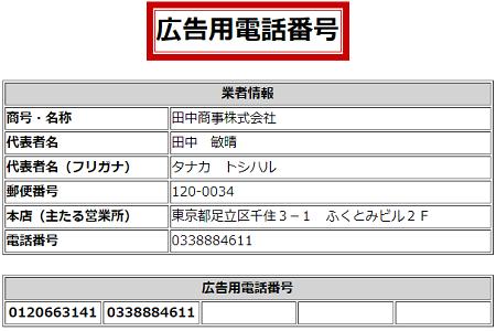 田中商事の広告用電話番号一覧